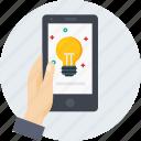 bulb, hand, idea, innovation, light, mobile, thinking