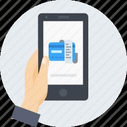 bill, card, debit, mobile, reciept, secure, transaction icon