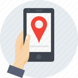 gps, hand, location, mobile, navigation, place, search icon