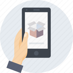 box, delivery, hand, logistic, mobile, parcel icon