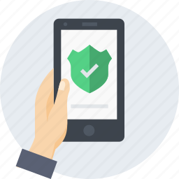 hand, mobile, protection, safety, shield, verify icon