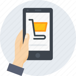 cart, hand, mobile, online, shopping, store, trolly icon