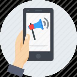 announcement, branding, hand, mobile, promotion, speaker, volume icon