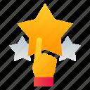 hand, press, rating, star icon