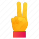 fingers, hand, peace, v icon