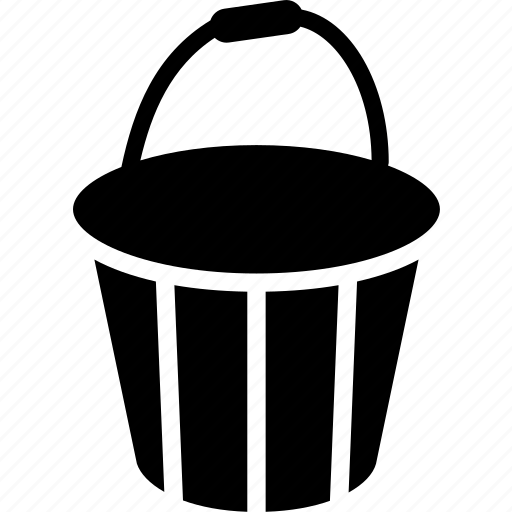 bucket, hand, solid, tool icon