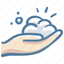 cleaning, hand, hygenic, soap, wash, washing, wet icon