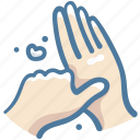 cleaning, coronavirus, covid, hands, thumbs, washing, wiping icon