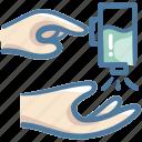 alcohol, bottle, gel, gesture, hand, spray icon