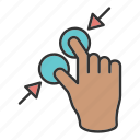 fingers, hand, swipe, touch, zoom icon