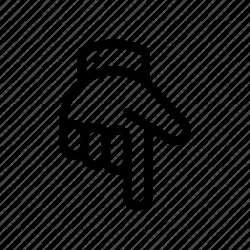 arrow, arrows, bottom, direction, down, hand, navigation icon