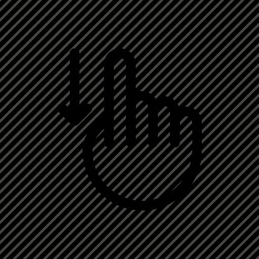 arrow, direction, down, gesture, hand, move, swipe icon