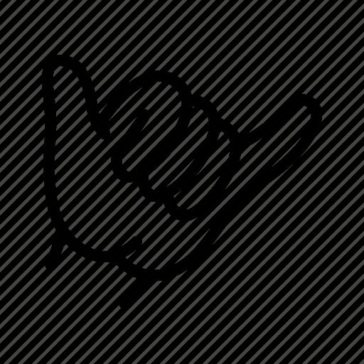 finger, gesture, greeting, hand, hawaii, hello, shaka icon