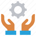 care, cogwheel, gear, giving, hands support, safe, support