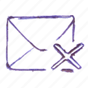 cover, cross, delete, mail icon