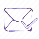check, delivered, mail icon