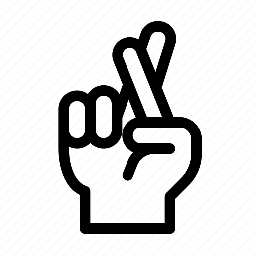 fabrication, finger, gesture, hand, lie, lying, two icon
