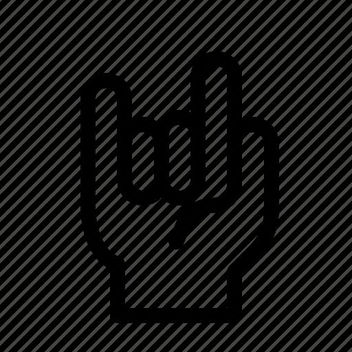 finger, gesture, good, hand, rock, three icon