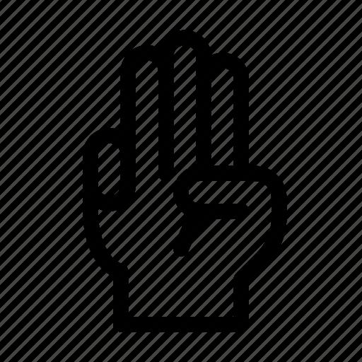 finger, gesture, gun, hand, interaction, respect, three icon