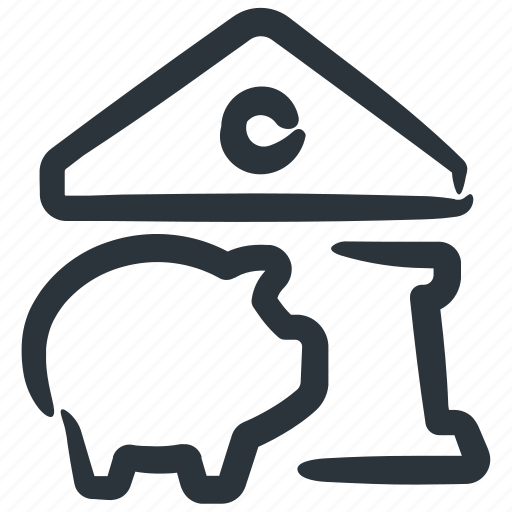 bank, bank building, banking, financial institution, piggy bank icon