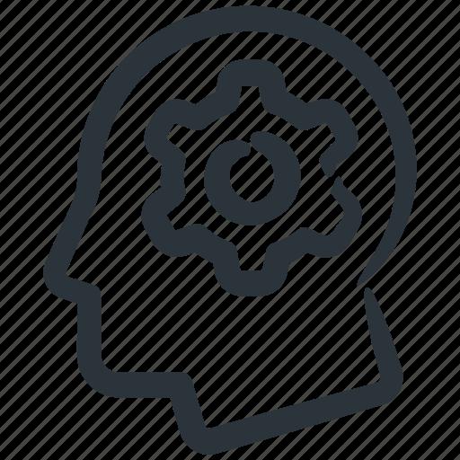 cog, gear, head, idea, process, think, user icon
