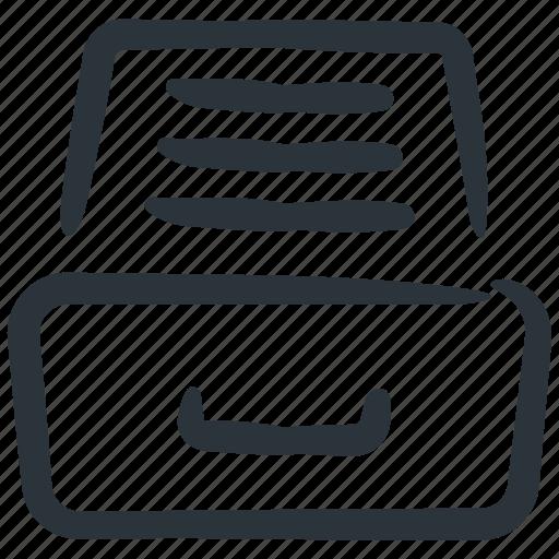 documents, drawer, files, inbox, storage icon