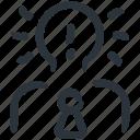 innovation, idea, business idea, innovative, bulb head, businessman, smart icon