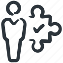business man, integration, solution, business integration, business solution, puzzle icon
