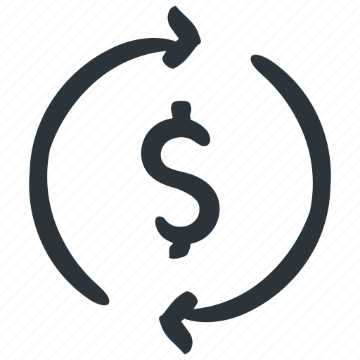 dollar, finance, payment, refund, sync, turnover icon