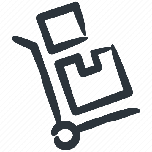 delivery, packaging, shipping, shipping trolley icon