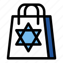 bag, chanukah, hanukkah, israel, jewish, shopping bag, star of david icon