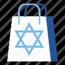 bag, chanukah, hanukkah, israel, jewish, shopping bag, star of david