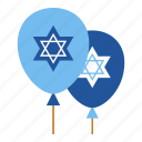 balloons, chanukah, hanukkah, hanukkah decorations, israel, jewish, religious icon