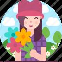 avatar, female, flowers, happy, woman