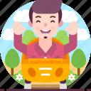 car, enjoy, entertainment, fun, male, man, travel icon