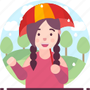 female, raining, umbrella, woman