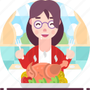 avatar, chicken, dinner, female, woman, yummy icon