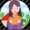 avatar, female, pet animal, rabbit, woman