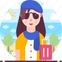 baggage, female, tourist, travel, woman icon