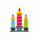 candles, celebration, decoration, festive, fire, flame, light icon