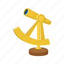 antique, cartoon, discovery, gold, nautical, optical, spyglass icon