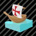 cartoon, ocean, sail, sea, ship, travel, vessel icon