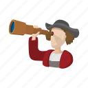 cartoon, christopher, columbus, costume, discovery, look, spyglass icon