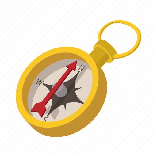ancient, antique, cartoon, compass, gold, north, old icon