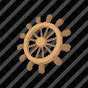 boat, cartoon, direction, rudder, ship, vessel, wheel icon