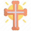 christianity, cross sign, easter day, egg, happy easter, holidays, spring season icon