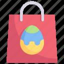 easter day, easter egg bag, egg, happy easter, holidays, paper bag, spring season icon