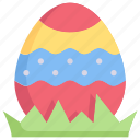 decoration, easter day, egg, egg in grass, happy easter, holidays, spring season icon