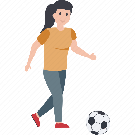 female player, football player, outdoor game, playing football, soccer player icon