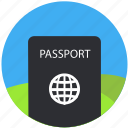 document, id, identification, identity, pass, passport, travel icon